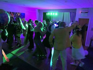 A full dance floor with the Retro Roadshow mobile disco at Dave's party at Brampton Park golf club