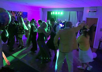 A full dance floor with the Retro Roadshow at Dave's party at Brampton Park golf club