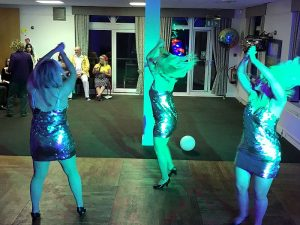 The Glitterbombs performing in front of the Retro Roadshow at Dave's party at Brampton Park Golf club