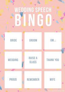 Wedding speech bingo from Imagine Entertainment