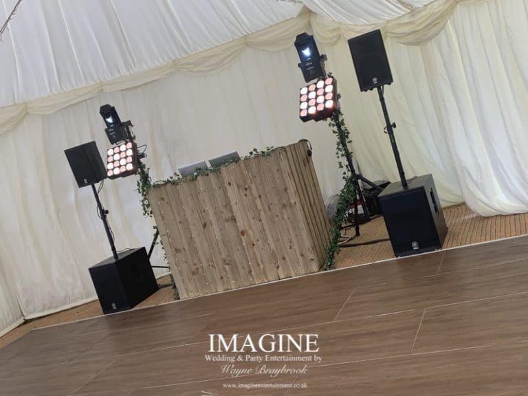 Rustic disco setup in a marquee setting