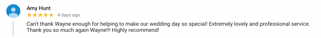 A 5 star Google review from Amy & Dan