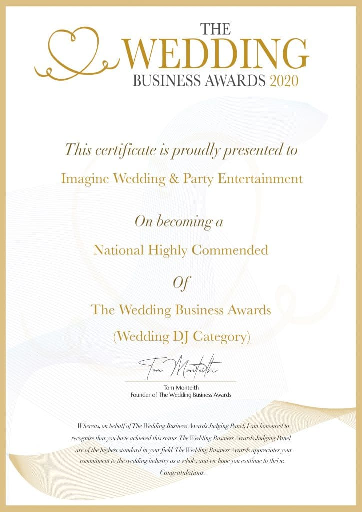 The Wedding Business Awards 2020 National Highly Commended Wedding DJ Entertainment